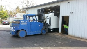 Our Okuma 560V being put into the building.